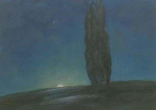 Janus de Winter (Dutch, 1882-1951).   A moonlit landscape,  oil on board,  34 x 50 cm.