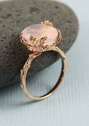 Handmade Pink Gold Oval Rose Quartz Ring Quartz ring Rose quartz