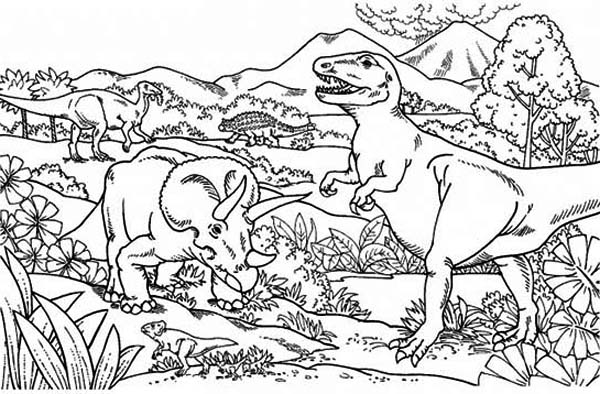Triceratops Attacking T Rex Coloring Page Color Luna In 2020 Dinosaur Coloring Pages Coloring Pages Dinosaur Coloring