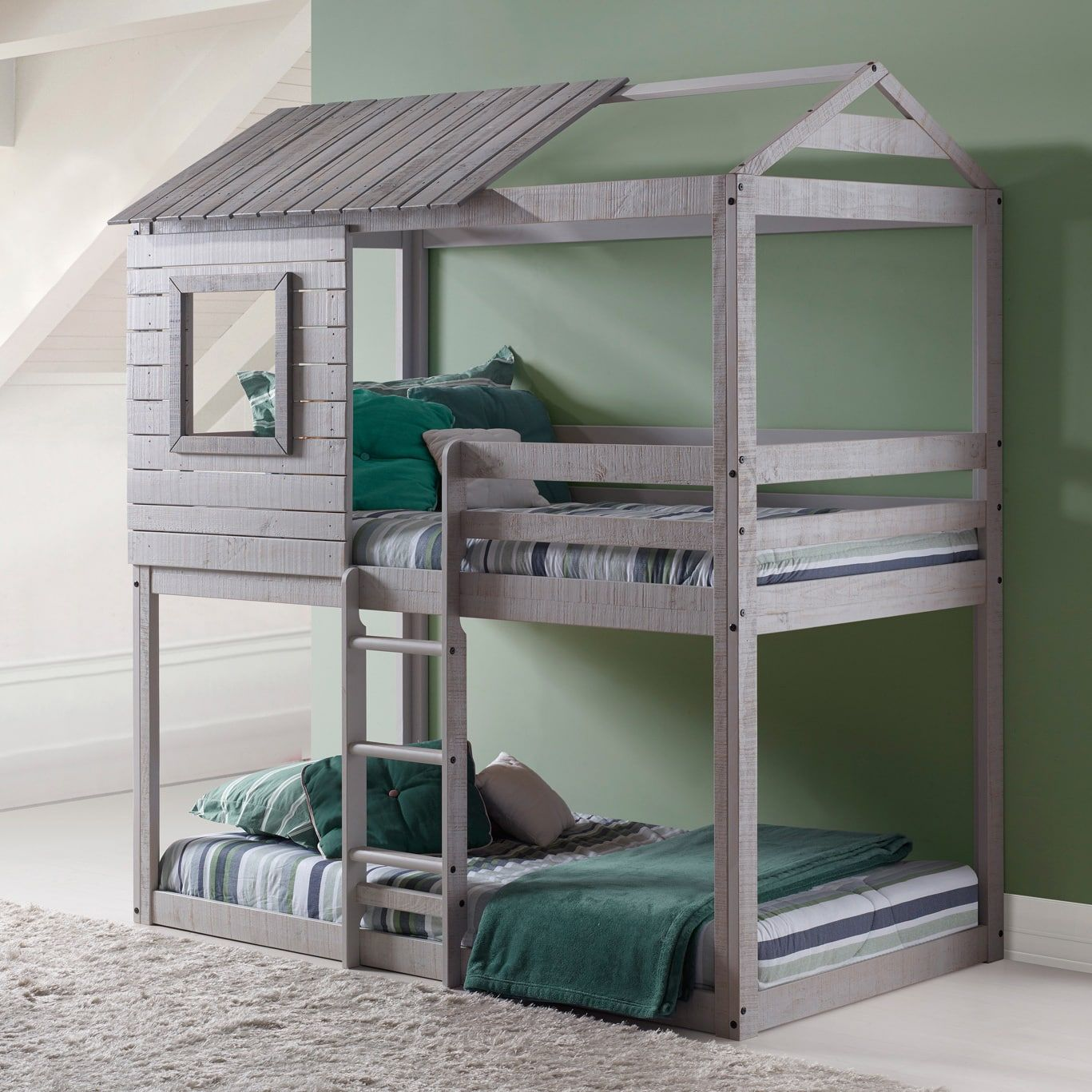 donco kids loft style light grey twin over twin bunk bed toddler