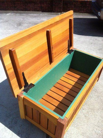 Cedar Garden Storage Bench Wooden Storage Bench Outdoor Storage