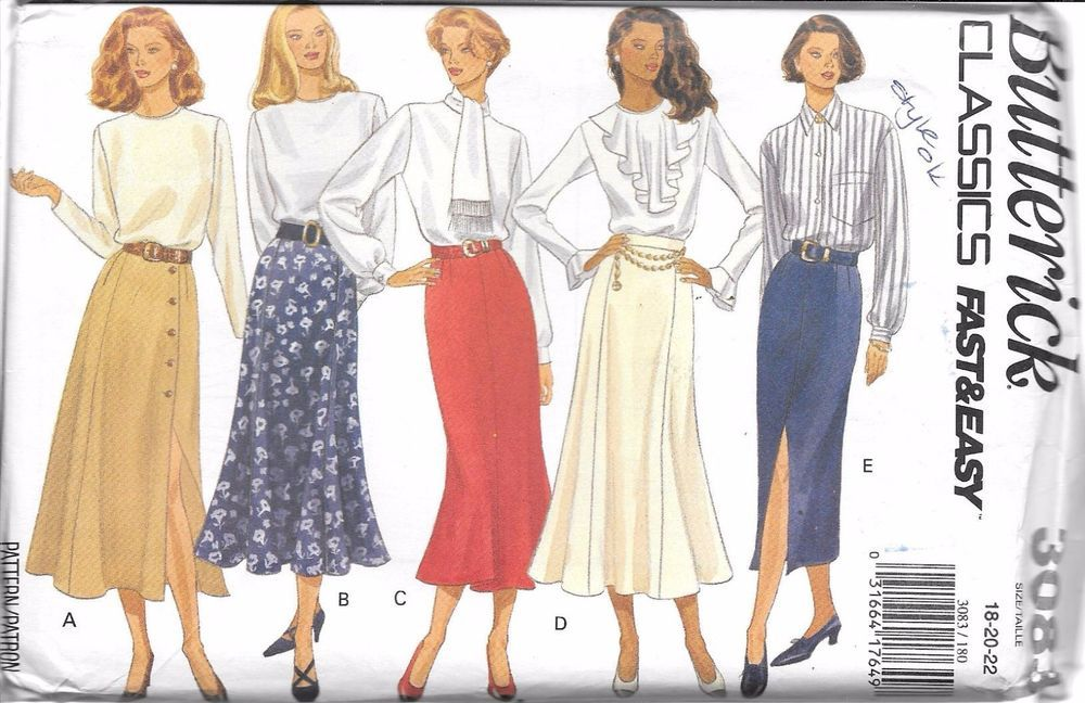3083 Vintage Butterick Sewing Pattern Misses Set of Skirts UNCUT Classic Easy FF