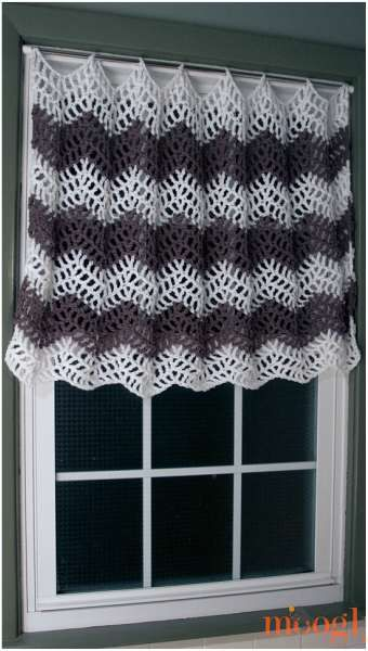 Easy] Kitchen Crochet Curtain [Free Pattern] | Pinterest | Gardinen ...