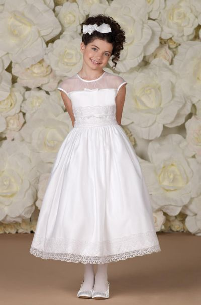 Tween Girls Plus White Pleat Fit-N-Flare Communion Flower Girl Dress//Jacket Set