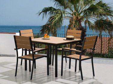 Ensemble de jardin aluminium Table et 4 chaises plastique marron ...