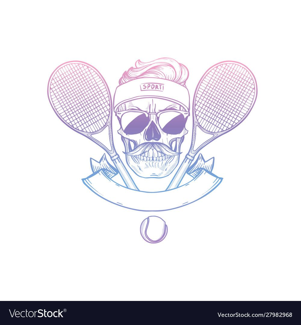Sketch Skull With Tennis Racquet Royalty Free Vector Image