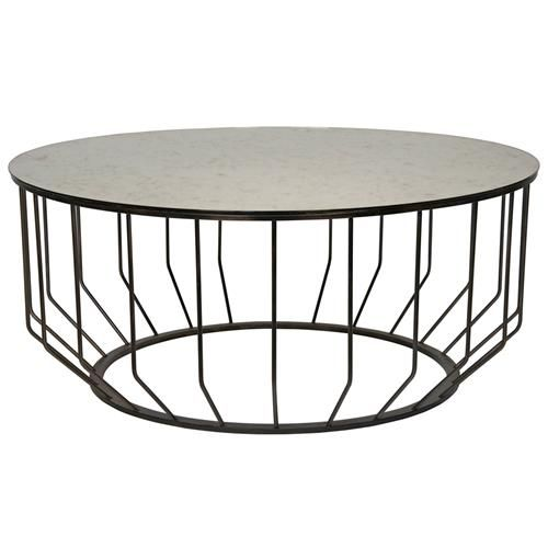 Sandford Industrial Loft Antique Glass Metal Round Coffee Table