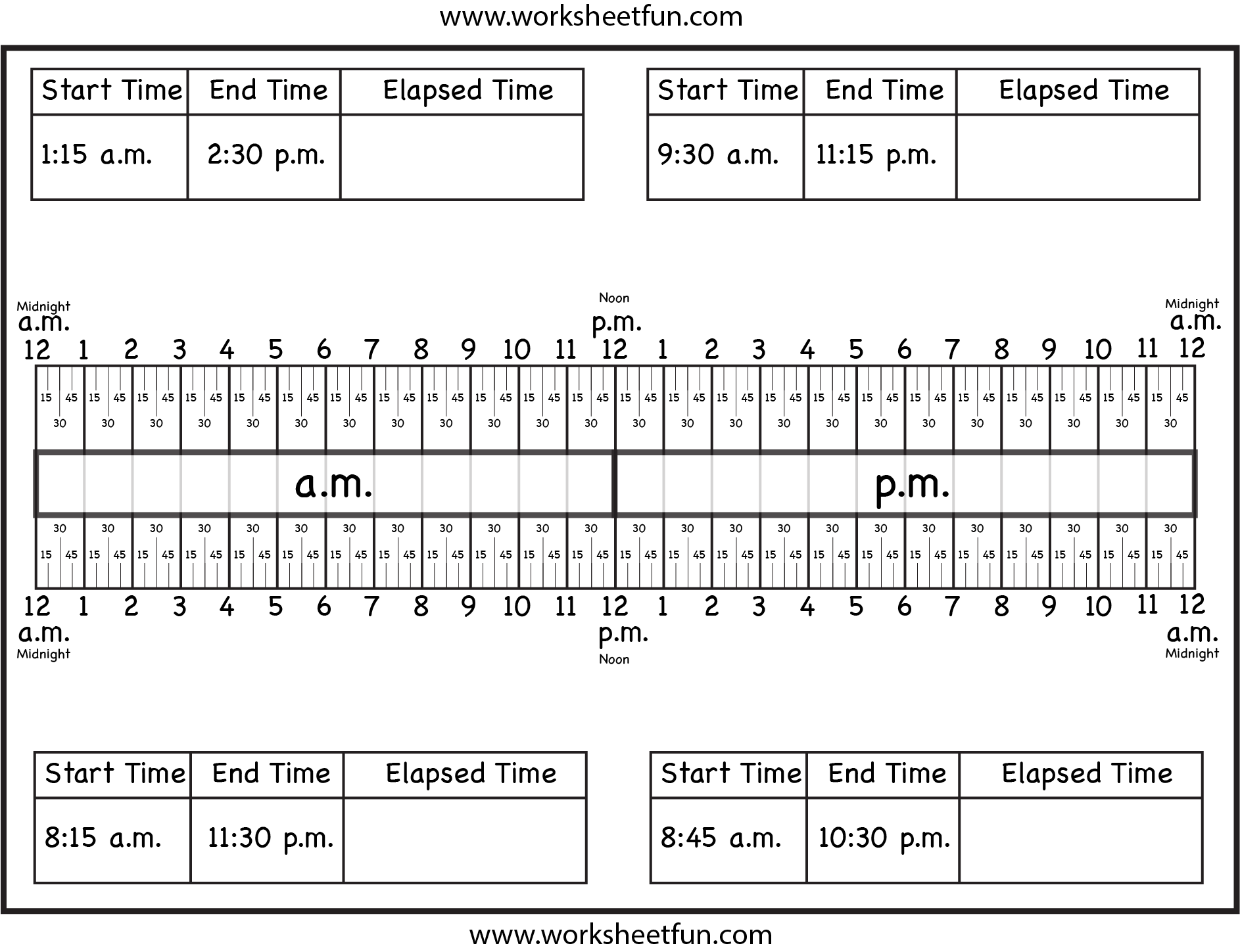 Calculate elapsed time using elapsed time ruler – quarter hours 15