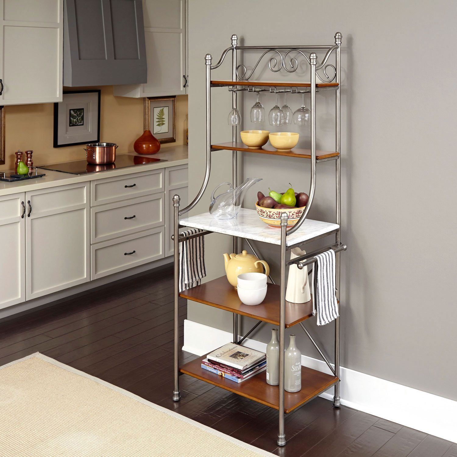 Stainless Steel Bakers Rack With Shelves And Glass Holder
