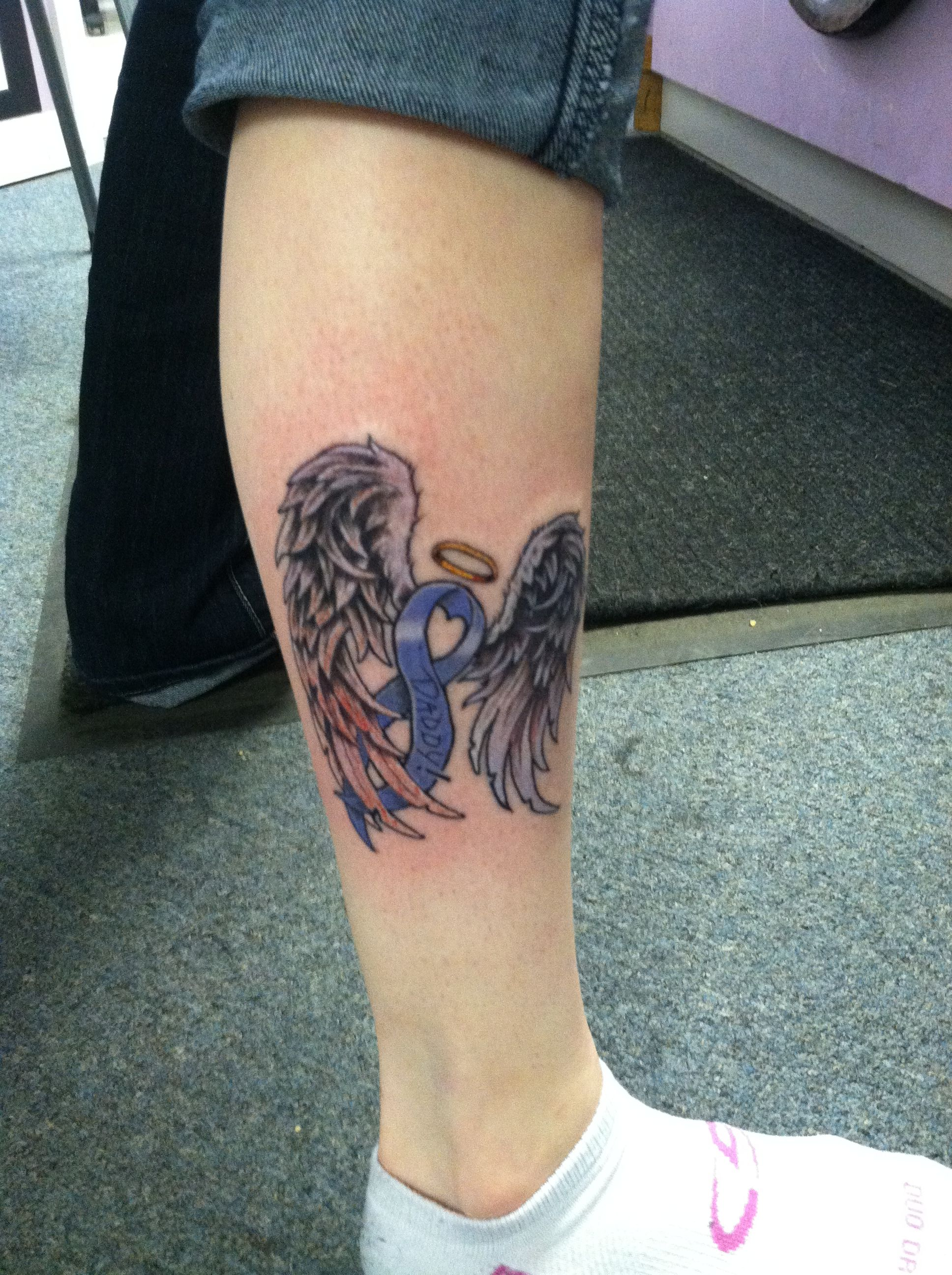 My best fiend just got this tattoo it 39 s the ribbon for for Tattoos for dad that passed away