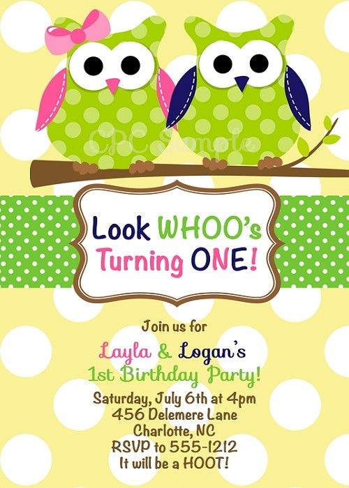 Twin Owl Birthday Party Invitations OR Baby Sh BIRTHDAY PARTY