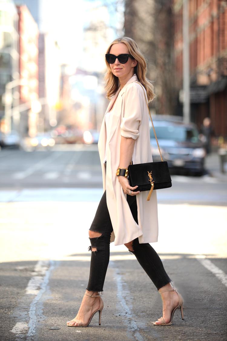 Soft Edge via BrooklynBlonde.com / @brooklynblonde Shoes: similar here and here and here   Jeans: Rag & Bone   Duster: Topshop   Bag: Saint Laurent Thursday, April 16, 2015