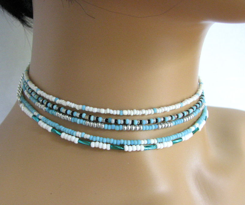 Skinny Turquoise Blue Bead Choker Necklaces