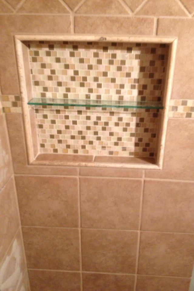 recessed built in tiled shower shelf for the home. Black Bedroom Furniture Sets. Home Design Ideas