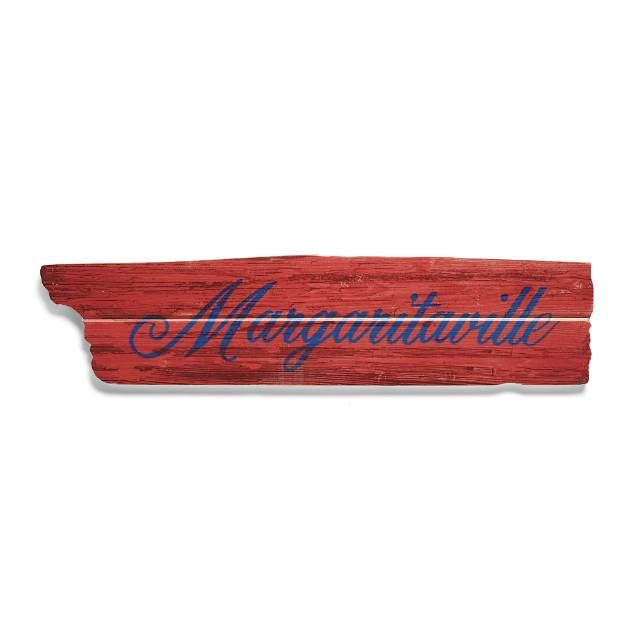 Now you'll always know the way to Margaritaville and other exotic destinations, thanks to these handmade outdoor signs. Each one is crafted from kiln-dried western red cedar, and then decorated with UV-resistant inks and intentional distressing to create a well-worn, vintage look. Kiln-dried western read cedar UV-resistant inks Each piece can be placed individually For indoor or outdoor use Made in the USA.