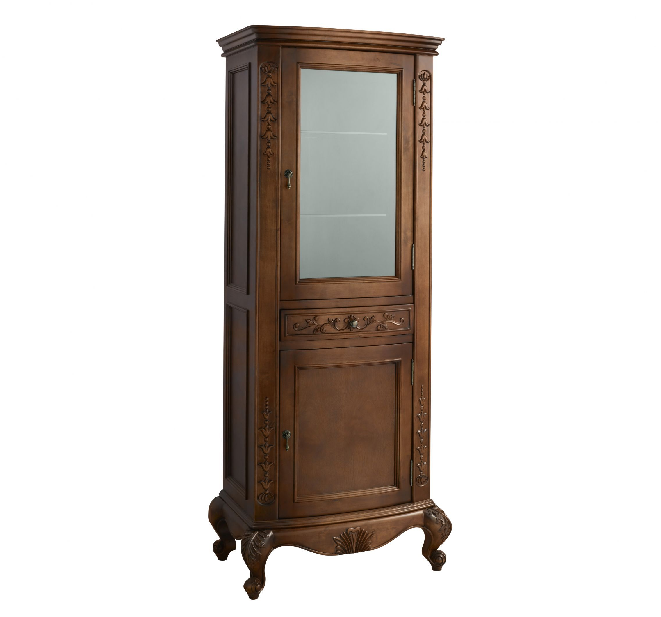 Unique Tall Display Cabinet with Glass Doors