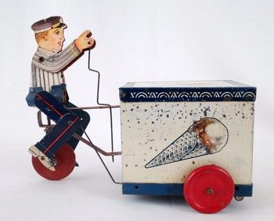 Oh, I love this! - 1930's Litho American Tin Toy Key Wind Up Ice Cream Seller