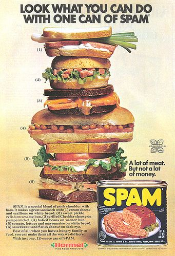 look what you can do with one can of spam don personally sampled each of these delicious sandwiches ads adverts