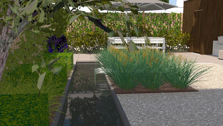Achtertuin met vijver en overkapping tuinontwerp in 3d for Stoop eindhoven
