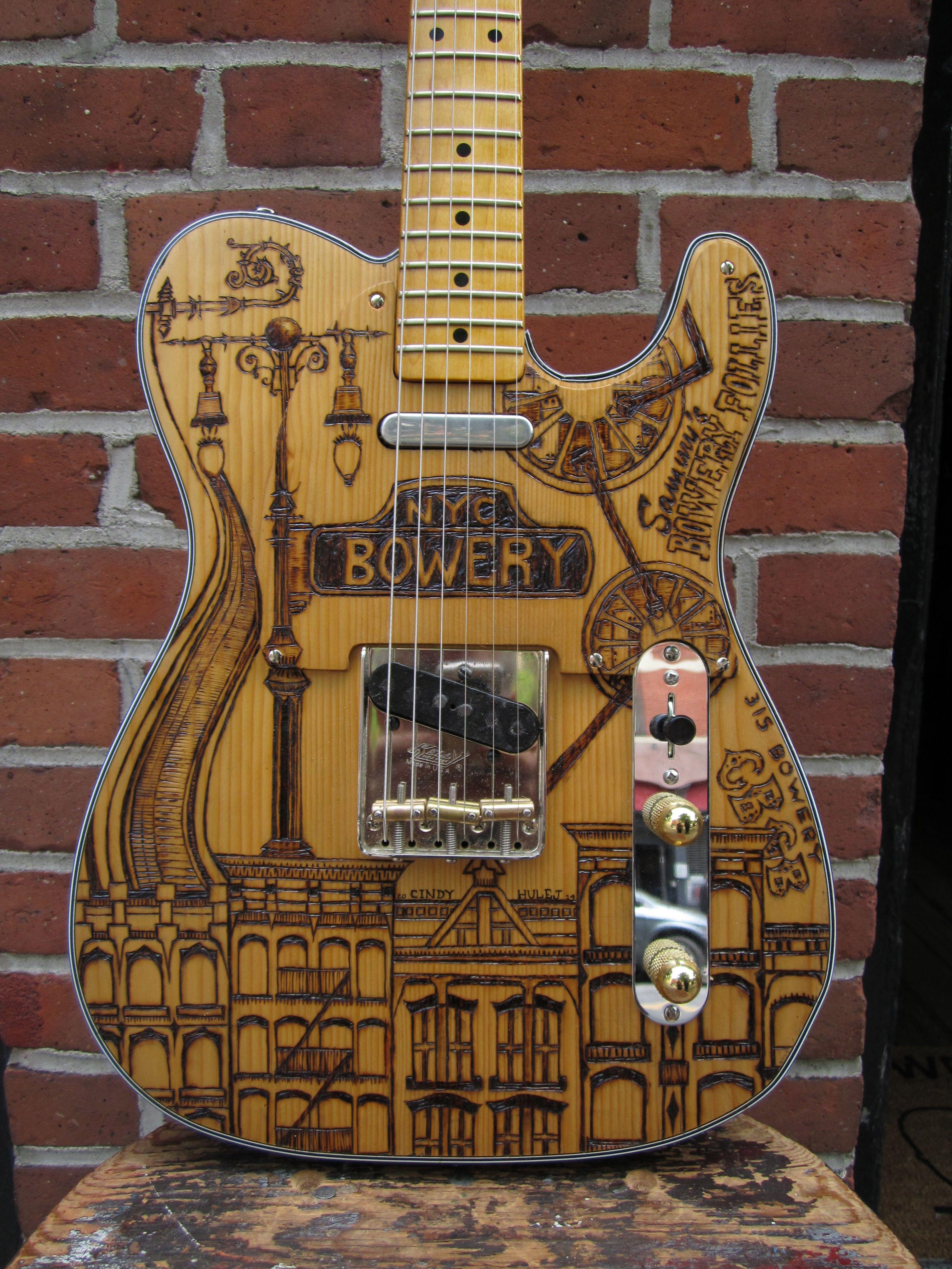 Rick Kelly Bowery Pine Kellecaster art by Cindy Hulej Rick Kelly Guitars New York