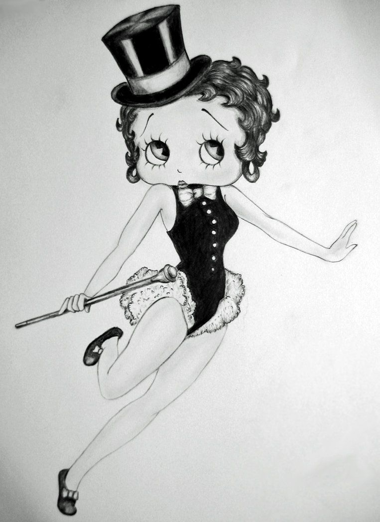 Betty Boop Black And White Drawing