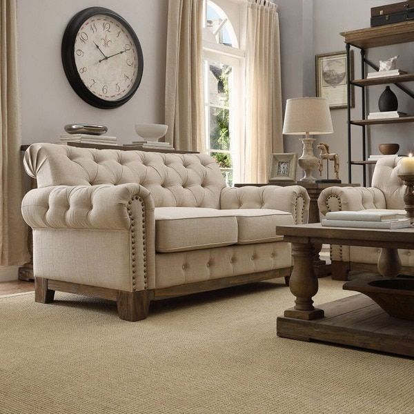 SIGNAL HILLS Greenwich Tufted Scroll Arm Nailhead Beige Chesterfield ...