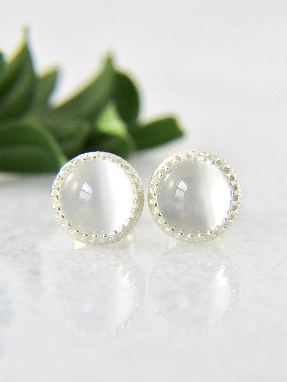 STUDS 8 mm Round  MOONSTONE   Sterling  Silver  925  Gemstone Earrings