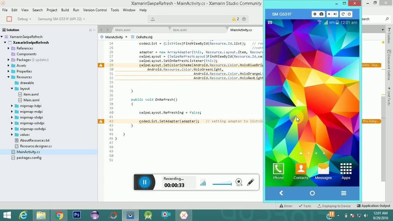 Xamarin Swipe Refresh Layout Android Android studio