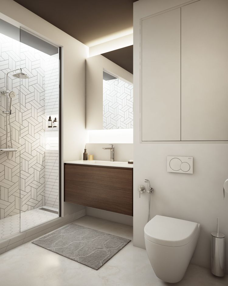Weiss Grau Beige Badezimmer Klein Einbauschrank Schlicht Elegant #dream  #house