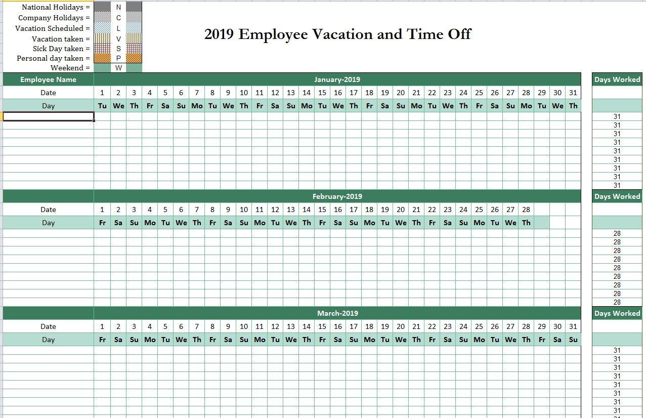 2019 Employee Attendance Tracking Calendar Attendance Tracker Attendance Sheet Template Calendar Program