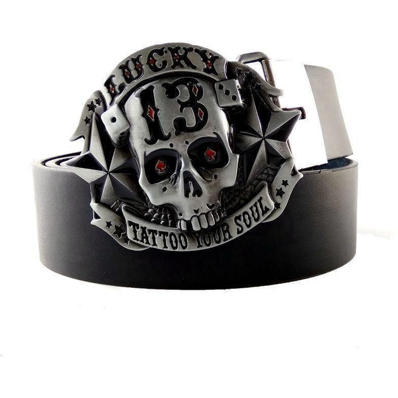 Tattoo Your Soul Skull Metal Buckle With Black Pu Leather Belt Skull Belt Buckle Belt Buckles Metal Buckles