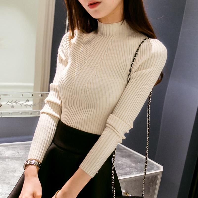 New 2016 Spring Fashion Women sweater high elastic Solid ...