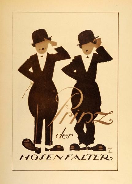 """Prinz der Hosen Falter"" This is an original 1926 photogravure of an advertising poster by Ludwig Hohlwein featuring what we think is Charlie Chaplin, the ""Litt"