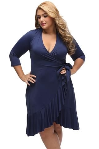 BIG n TRENDY Navy Blue Chic And Feminine Style Plus Size Wrap Dress