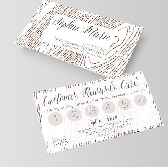 White And Gold Wood Grain Business Card Loyalty Card Rewards