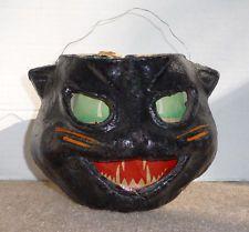 VINTAGE HALLOWEEN PAPER MACHE BLACK  CAT HEAD LANTERN WITH ORIGINAL INSERT