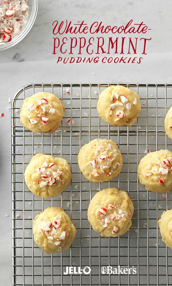 Sprinkled with white chocolate morsels and covered in crushed peppermint candies, these scrumptious cookies are partyperfect—and great for gifting too. With JELL-O Vanilla Flavor Instant Pudding, BAKER'S Premium White Chocolate Morsels and some starlight mints, you'll be on your way to White Chocolate-Peppermint Pudding Cookies!
