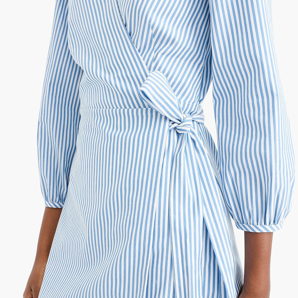 Wrap Dress In Striped Cotton Poplin Wrap Dress Tall Wrap Dress Cotton Poplin [ 1254 x 1254 Pixel ]