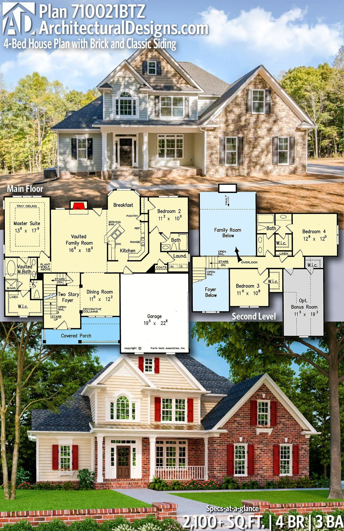 Plan 710021btz 4 Bed House Plan With Brick And Classic Siding New House Plans House Plans Dream House Plans
