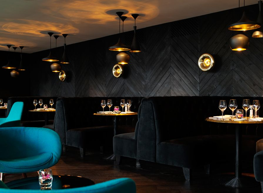 Black velvet chevron walls gold accents the