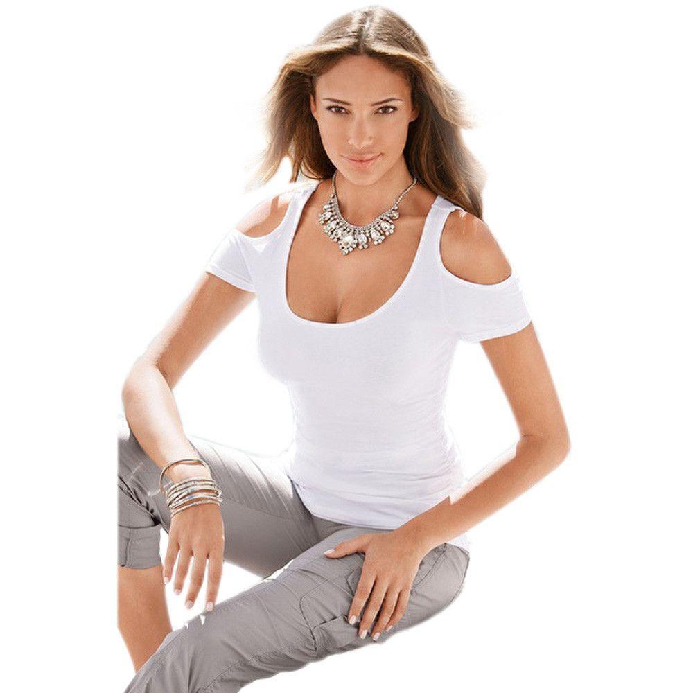 Sexy Fashion Womens Dew Shoulder Short Sleeves T-Shirt Blusas