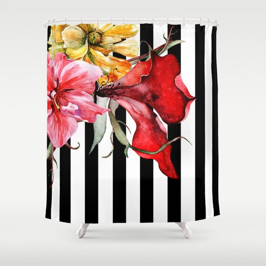 Buy Shower Curtains featuring FLORA BOTANICA | stripes by Cheryl Daniels. Made from 100% easy care polyester our designer shower curtains are printed in the USA and feature a 12 button-hole top for simple hanging.