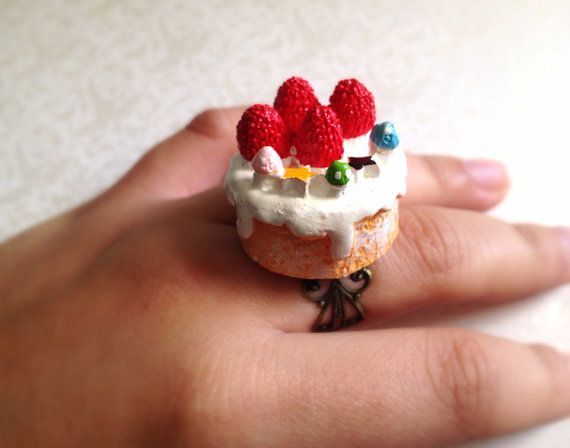 Miniature Cake Adjustable Ring. Birthday Treat. by MintMarbles, $19.00
