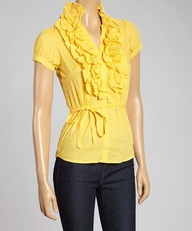 Look what I found on #zulily! Yellow Ruffle Button-Up Top - Women #zulilyfinds