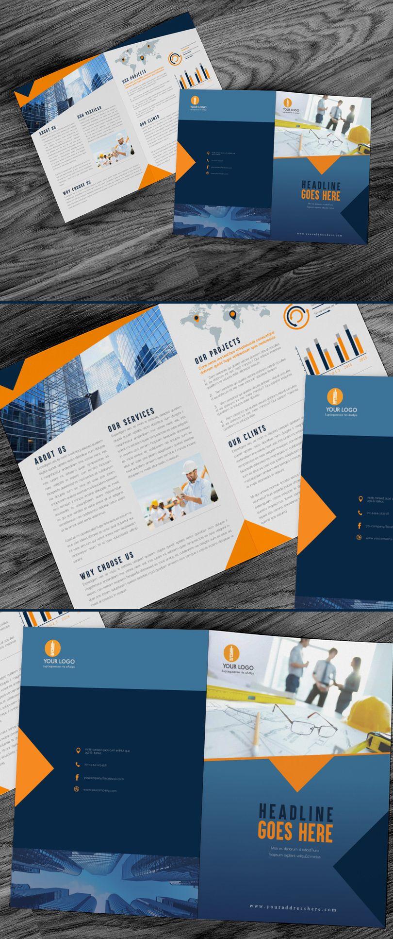 bi-fold-construction-brochure-design-template | Brochures and Flyers ...