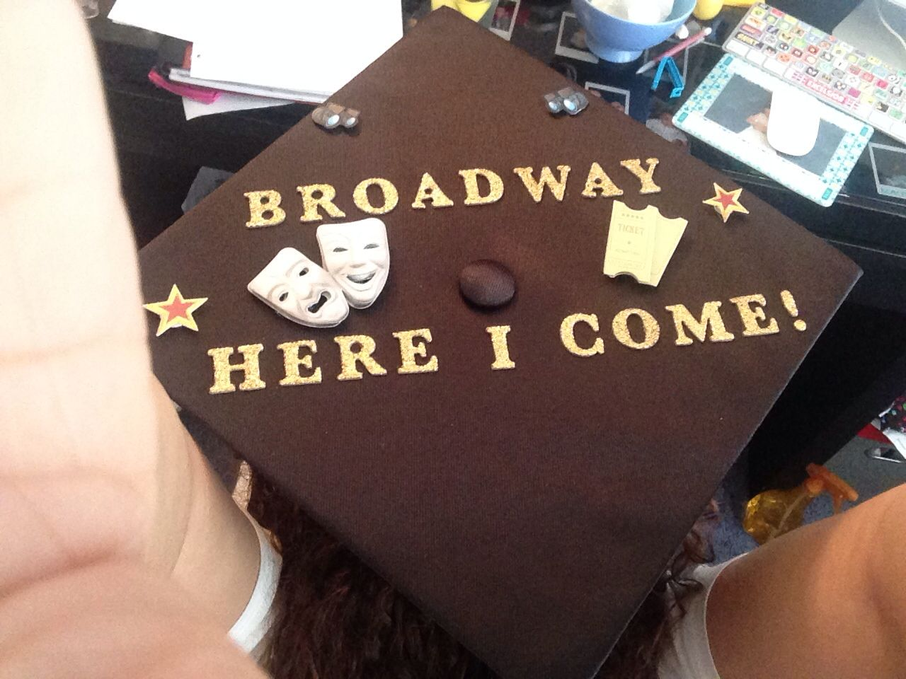 Decorating graduation cap ideas for teachers - Theatre Major Graduation Cap