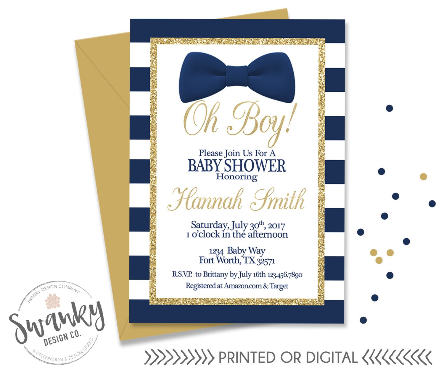 Oh Boy Baby Shower Invitation, Bowtie Baby Boy Shower, Navy and Gold ...