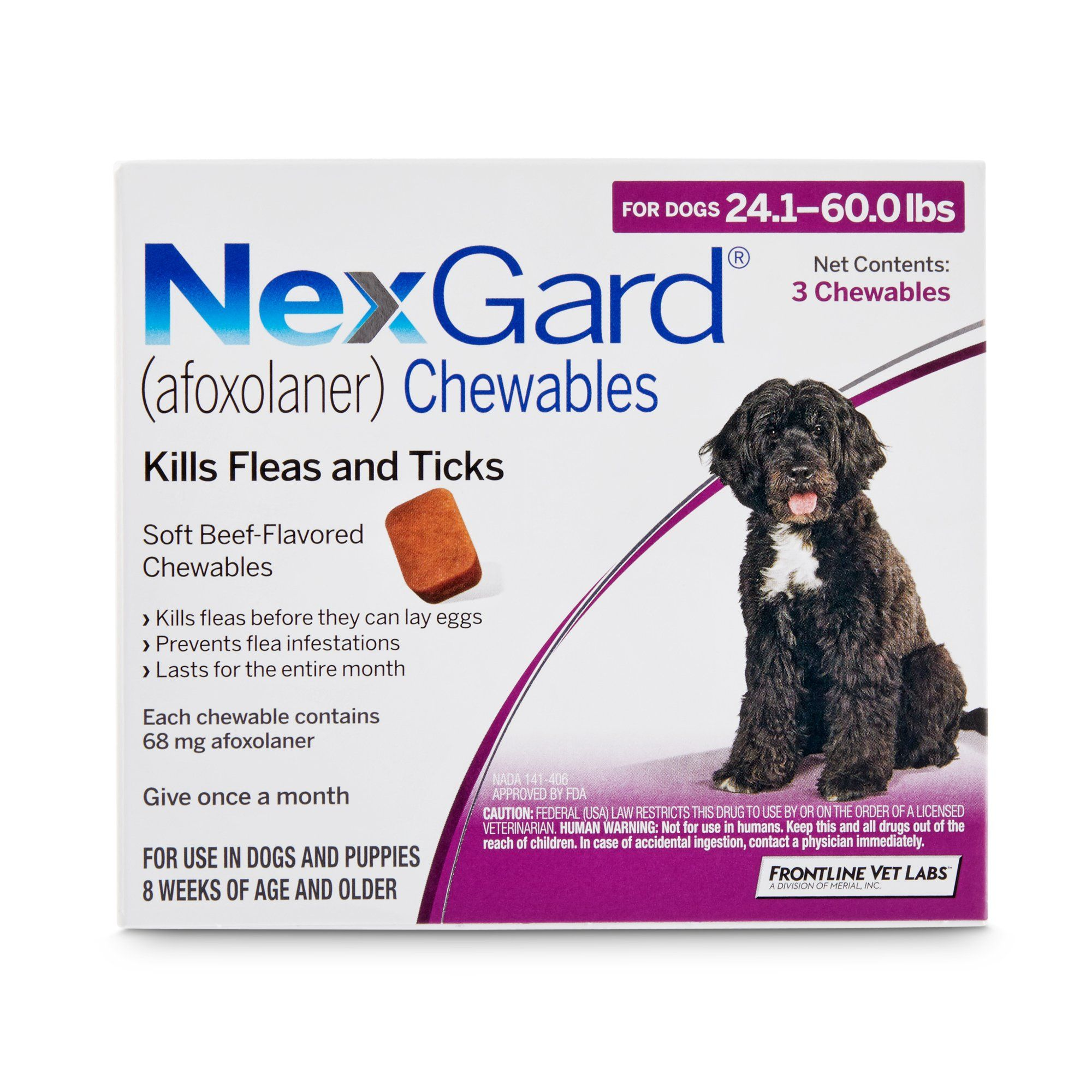 Nexgard Chewables Purple For Dogs 24 1 To 60 Lbs 6 Pack