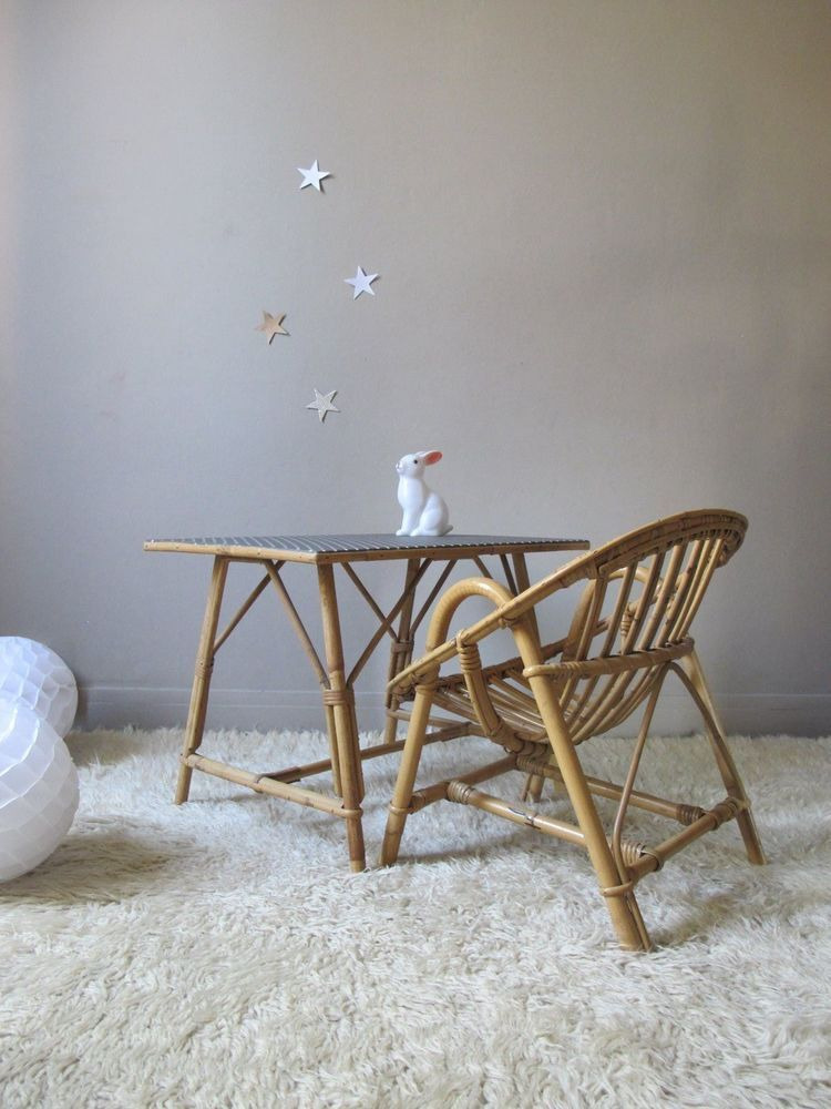 ensemble bureau et fauteuil en rotin osier bambou vintage pour