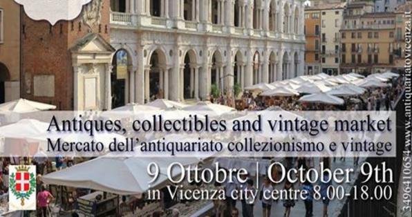 Antique market, Oct. 9, 8 a.m.-6 p.m., in Vicenza, Piazza dei Signori, Piazza Duomo, Piazza Garibaldi, Piazza Palladio, Piazza Biade and Piazza Castello (220 vendors)